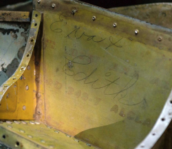 Section of P-47 showing names 'Eva and Edith,' two unknown war workers