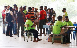 Polling area at University of PNG campus in Port Moresby