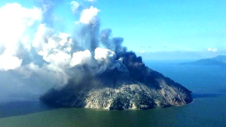 Kadovar Island in eruption