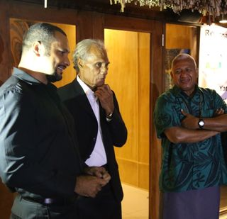Gov Gary Juffa with 'Akilisa Pohiva (Tonga PM) and Frank Bainrimarama (Fiji PM)