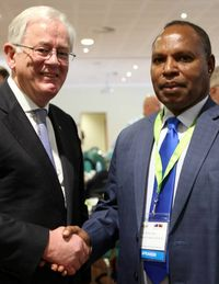 Australia Trade Minister Andrew Robb and PNG counterpart Richard Maru at the Australia PNG Business Forum