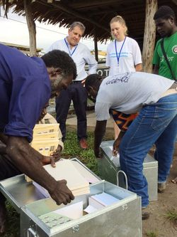 International observers Chris Evans and Louise Starr at the distribution of ballot papers in Buin