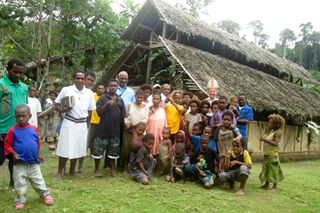 Villagers of Pivo outside the Chapel of Saint Francis