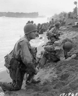 US soldiers on the beaches of Aitape, 22 April 1944