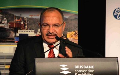 Peter O'Neill addresses the PNG Investment Summit in Brisbane