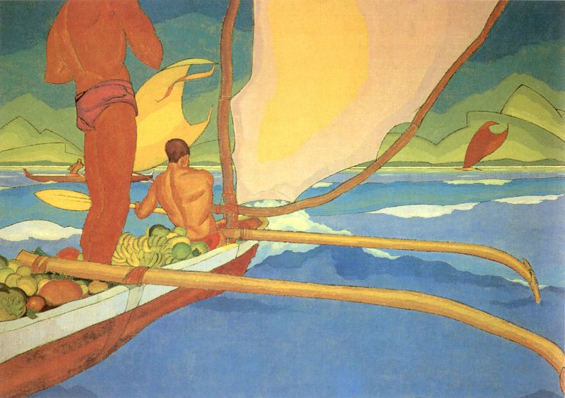 Arman_Manookian_-_'Men_in_an_Outrigger_Canoe_Headed_for_Shore',_oil_on_canvas,_c._1929