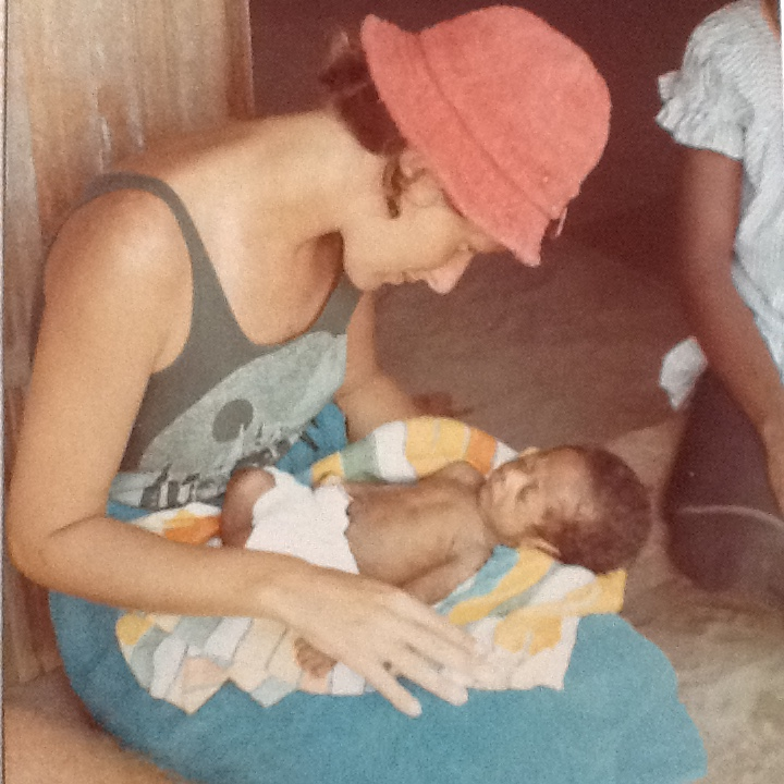 Marian Comerford with 4 month old Peter Tolingling, Tingwon, December 1973