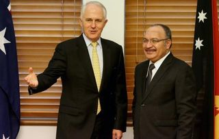 Turnbull and O'Neill at Parliament House, Canberra