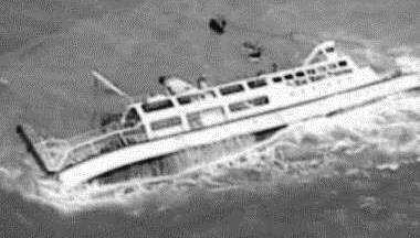 MV Rabaul Queen foundering (satellite photo)