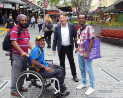 The PNG writers bump into Noosa mayor Tony Wellington in Brisbane's Queen Street Mall