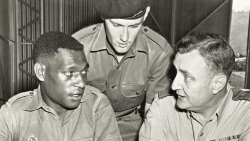 Brigadier Ernest Gould with Chalkie Sgt Neil Gibson and a PIR soldier in 1966