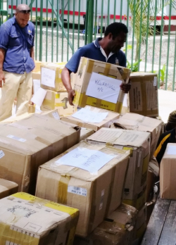 Boxes of books for Simbu