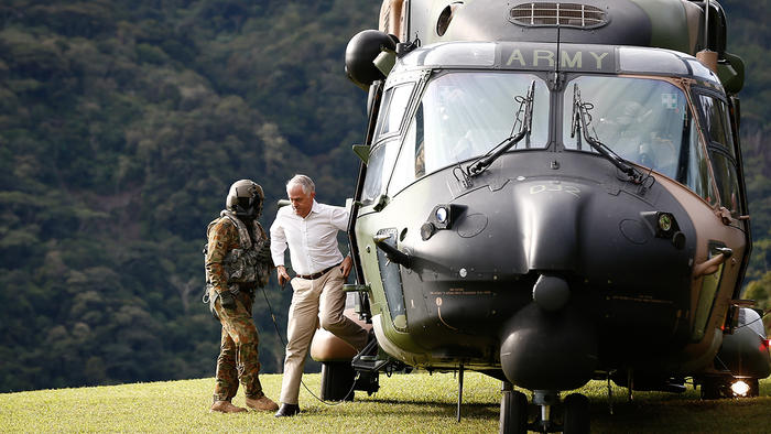 Malcolm Turnbull arrives in an Australian Army helicopter at the Kokoda Track  April 2017 (AAP)