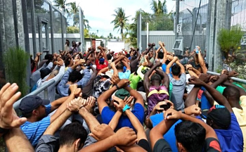 Protest at the Manus Island detention centre