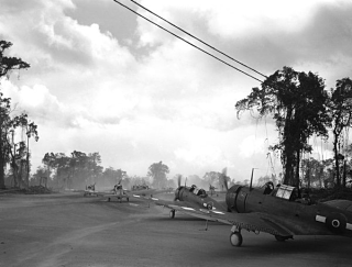 16 April 1944 - US & New Zealand aircraft taxi to a runway on Bougainville (AP)