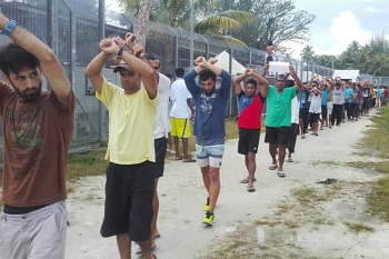 Detainees protest inside the compound at Manus detention centre (Refugee Action Coalition)