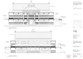 Architect's drawing of the main building