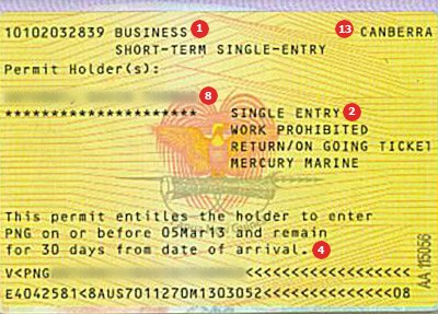 PNG business visa