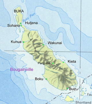 Bougainville showing main towns