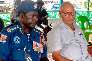 Bougainville police chief Francis Tokura and President John Momis