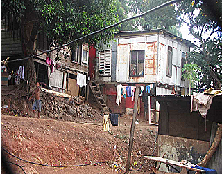 Squatter housing at 4 Mile settlement, Port Moresby