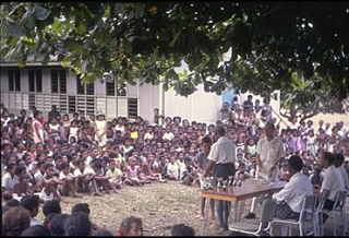 An outdoor assembly at Hagara Primary School