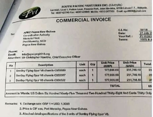 SPV commercial invoice