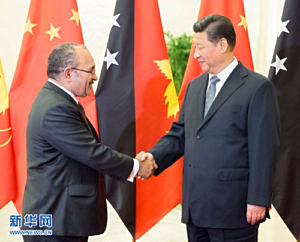 Peter O'Neill meets Chinese president Xi Jinping