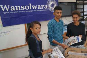 Wansolwara student journalists on distribution day  at the University of the South Pacific