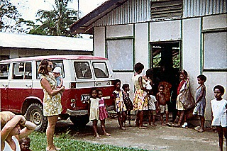Robbins - Annette with our baby son Kokoda Hospital 1972