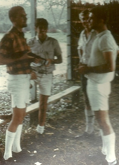 Young kiaps in their prime (right to left) Don Reid  Phil  Charlie Brillante  unknown  Mt Hagen  1968