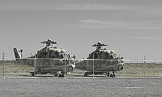 Russian-built Mil Mi-24 Hind attack helicopters at RAAF Base Tindal  1997