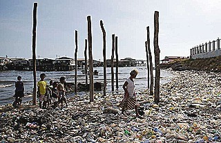 Port Moresby Beach  flooded with plastic waste
