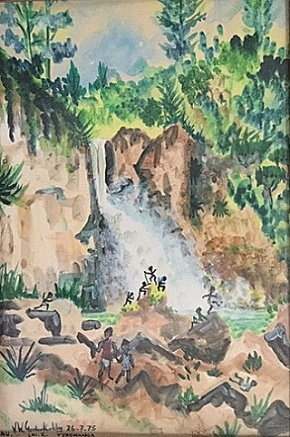 Yao Water falls near Teremanda  painted by John Gordon-Kirkby  July 1975