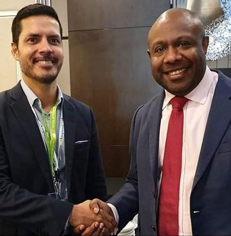 Police Minister Bryan Kramer and chairman of Nambawan Super chairman Anthony Smare