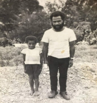 Catechist Bruno and son Joseph Kiak at Mormaule in 1970