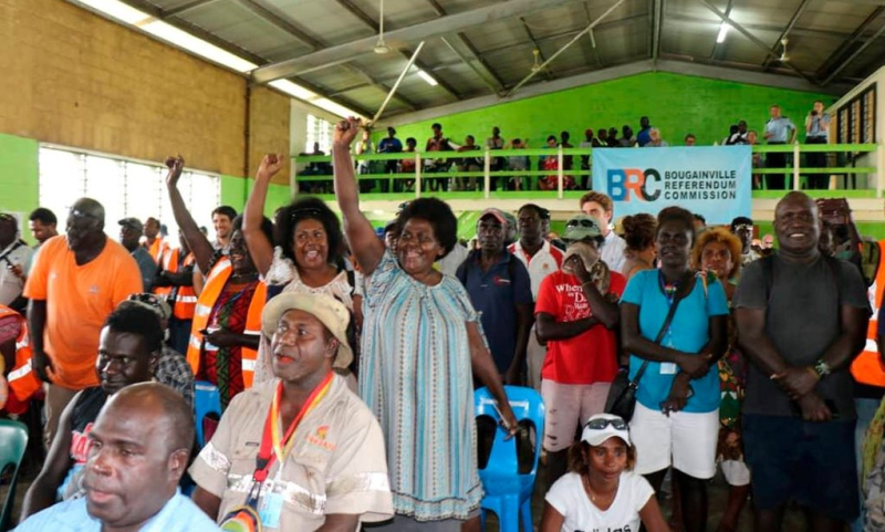Members of the Bougainville Women's Federation cheering after hearing voters overwhelmingly supported independence (Serahphina Aupong)