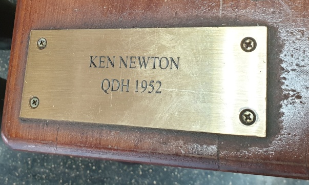 Memorial plaque for Ken Newton at Gatton College. He graduated with a Diploma in Horticulture in 1952 and became a PNG didiman