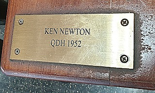 Memorial plaque for Ken Newton at Gatton College. He graduated with a Diploma in Horticulture in 1952