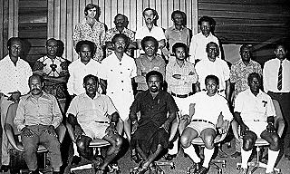 Mark Lynch (standing left rear) with the first PNG Cabinet  1975