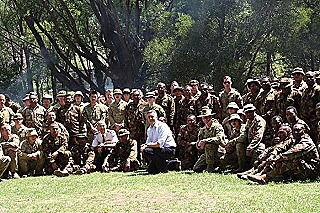 Australia's veterans affairs minister and local MP Darren Chester with the PNGDF contingent
