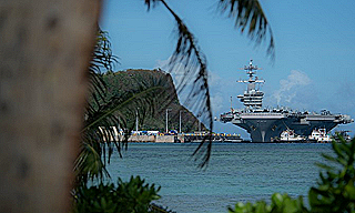 USS Theodore Roosevelt in Guam (US Navy screenshot)