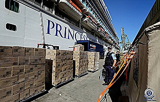 Packages ready to load aboard Ruby Princess (Robert Peet)