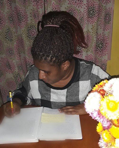 Dominica at her writing desk - busy at her second 'job'