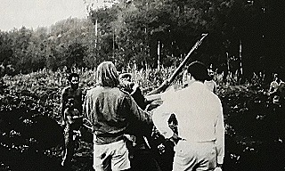 Kiap Barry Taverner intervening to stop a tribal war in Enga  late 1960s (Barry Taverner)