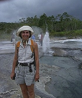 2 Ingrid poses before one of the smaller Dei Dei geysers