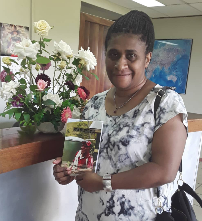 Dominica with the late Francis Nii's tribute book 'Man Bilong Buk'