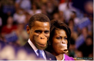 Barack and Michelle Obama depicted as monkeys