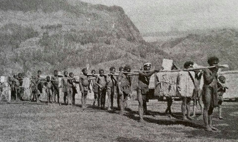 Early mission-patrol in the Enga region (Harold Freund)