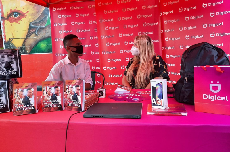 Digicel PNG presented Gerard with a new Dell laptop and Samsung smartphone